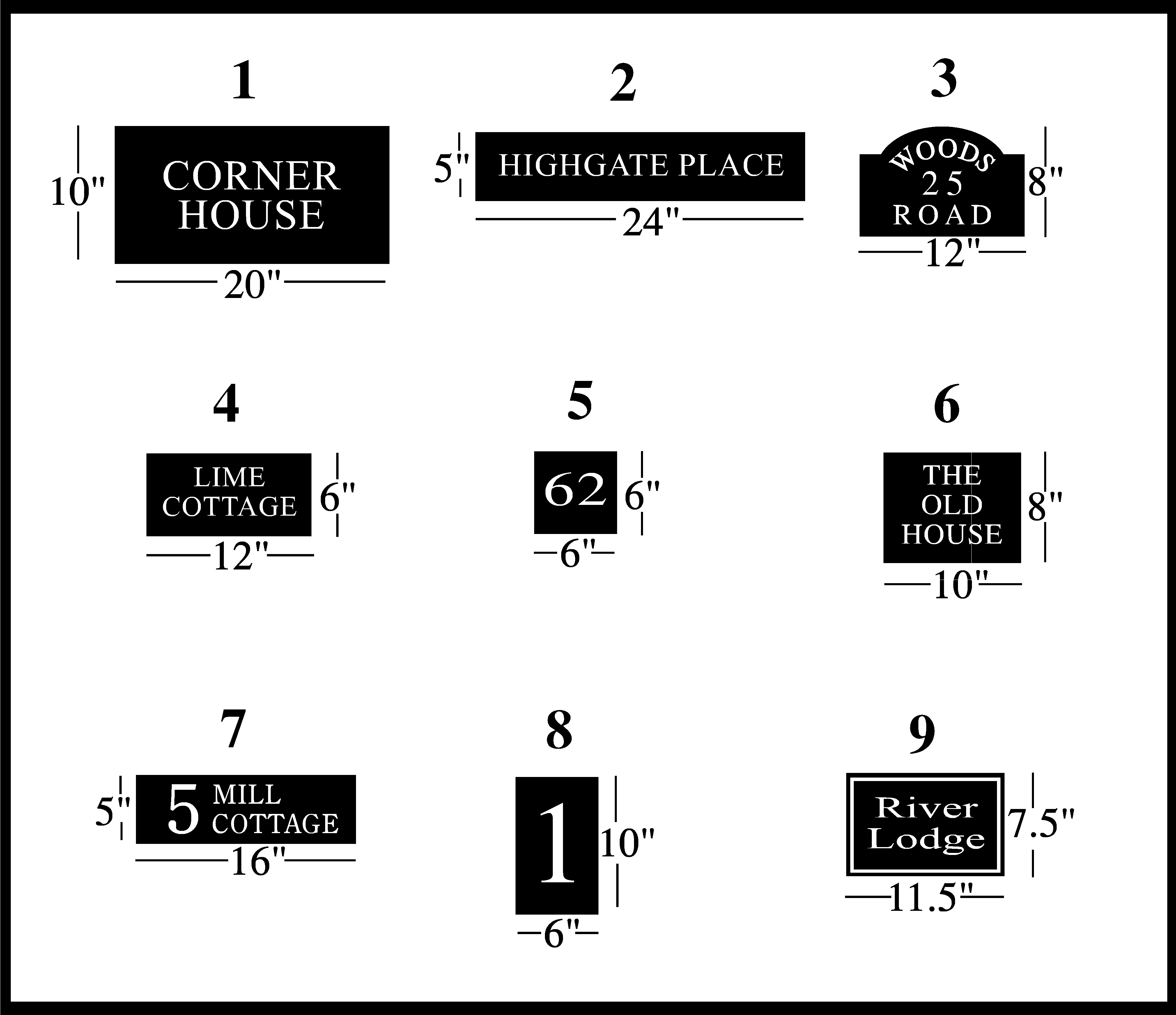 House Sign Shapes and Prices